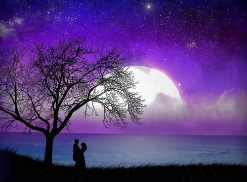enamorados a la luz de la luna